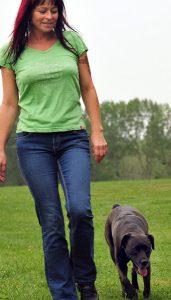 SpielendFühren-Mensch mit Blick auf Hund